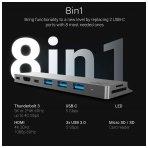 Jungčių stotelė HC HUB Connect60 8in1  (Thunderbolt 3, USB-C, HDMI, 3x USB 3.0) kompiuteriams Apple MacBook Air 2018, Pro 2016 ir naujesniems