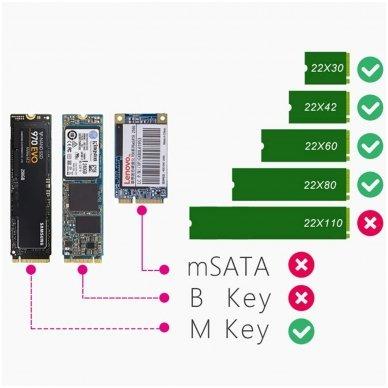Adapteris (dėklas) ASM2362 PCI-E SSD NVME M.2 į USB-C 3.1 2