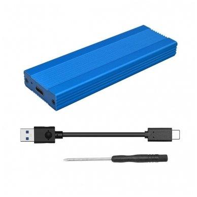 Adapteris (dėklas) ASM2362 PCI-E SSD NVME M.2 į USB-C 3.1
