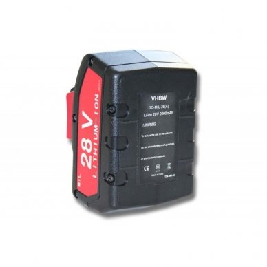 Baterija (akumuliatorius) elektriniam įrankiui Milwaukee V28 28V, Li-Ion, 2000mAh
