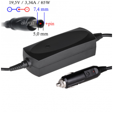 Automobilinis maitinimo adapteris (kroviklis) DELL 65W - 19.5V/3.34A (7.4*5.0mm)