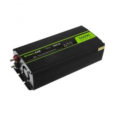 Automobilinis įtampos keitiklis GC 12V į 230V tikra sinusoidė 500W 2