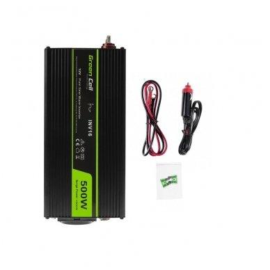 Automobilinis įtampos keitiklis GC 12V į 230V tikra sinusoidė 500W
