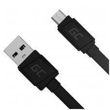 Micro USB kabelis 25cm (plokščias, palaiko greitą krovimą)