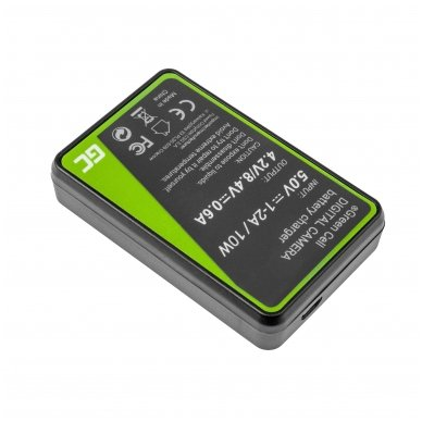 Maitinimo adapteris (kroviklis) GC DE-A65BB skirtas Panasonic DMW-BCG10 Lumix DMC-TZ10 DMC-TZ20 DMC-TZ30 DMC-ZS5 DMC-ZS10 DMC-ZX1 0.6A 8.4V 5W 2