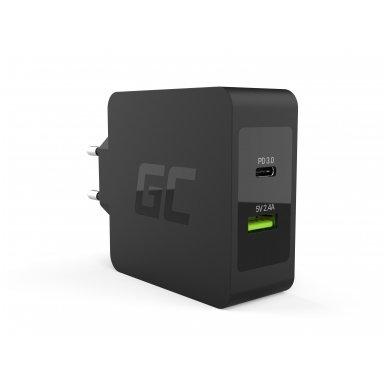 Maitinimo adapteris (kroviklis) USB-C 45W PD su kabeliu USB-C ir papildomu USB lizdu skirtu Asus ZenBook, HP Spectre, HP Envy x2 ir kitiems