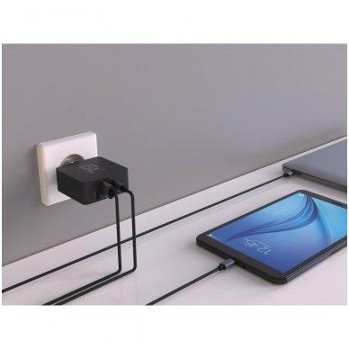 Maitinimo adapteris (kroviklis) USB-C 45W PD su kabeliu USB-C ir papildomu USB lizdu skirtu Asus ZenBook, HP Spectre, HP Envy x2 ir kitiems 5
