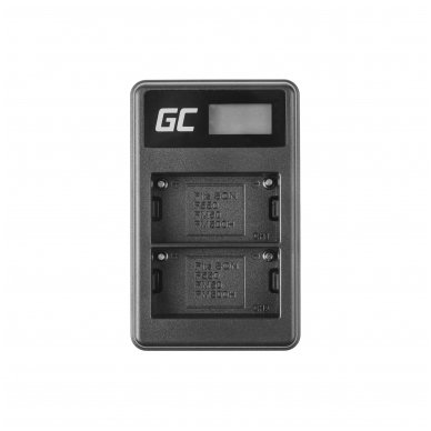 Dvigubas maitinimo adapteris (kroviklis) GC BC-V615 | AC-VL1 skirtas Sony A58, A57, A65, A77, A99, A900, A700, A580, A56,0 A55,0 A850, SLT A99 II 0.6A 8.4V 5W 3