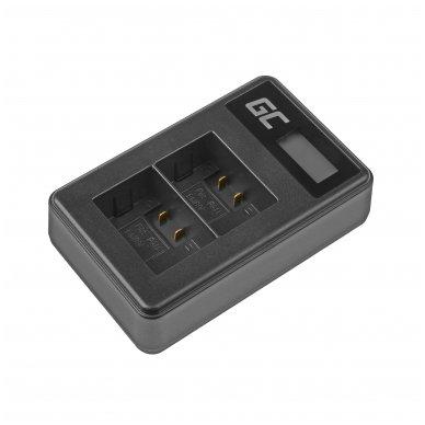 Dvigubas maitinimo adapteris (kroviklis) GC DE-A83, DE-A84 skirtas Panasonic DMW-MBM9, Lumix DMC-FZ70, DMC-FZ60, DMC-FZ100, DMC-FZ40, DMC-FZ47 0.6A 8.4V 5W
