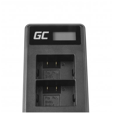 Dvigubas maitinimo adapteris (kroviklis) GC DE-A83, DE-A84 skirtas Panasonic DMW-MBM9, Lumix DMC-FZ70, DMC-FZ60, DMC-FZ100, DMC-FZ40, DMC-FZ47 0.6A 8.4V 5W 4