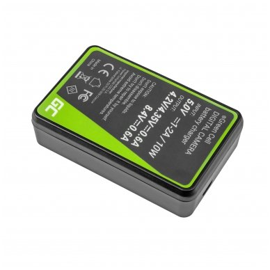 Dvigubas maitinimo adapteris (kroviklis) GC LC-E8 skirtas Canon LP-E8 EOS Rebel T2i, T3i, T4i, T5i, EOS 600D, 550D, 650D, 700D, Kiss X5, X4, X6 0.6A 8.4V 5W 2