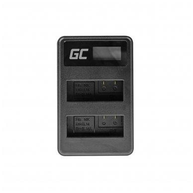 Dvigubas maitinimo adapteris (kroviklis) GC MH-24 skirtas Nikon EN-EL14, D3200, D3300, D5100, D5200, D5300, D5500, Coolpix P7000, P7700, P7800 0.6A 8.4V 5W 3