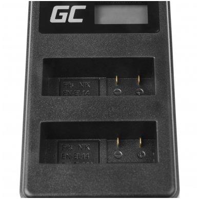 Dvigubas maitinimo adapteris (kroviklis) GC MH-24 skirtas Nikon EN-EL14, D3200, D3300, D5100, D5200, D5300, D5500, Coolpix P7000, P7700, P7800 0.6A 8.4V 5W 4