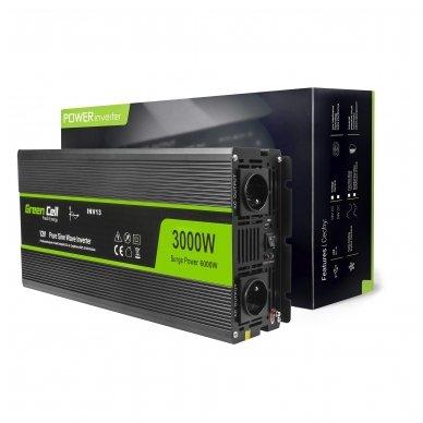 Automobilinis įtampos keitiklis GC 12V į 230V, 3000W/6000W, tikra sinusoidė