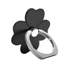 Telefono laikiklis-žiedas-stovas juoda gėlė