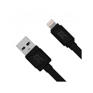 USB kabelis GC matinis, plokščias, Lightning Apple 2.4A greito krovimo palaikymas 3